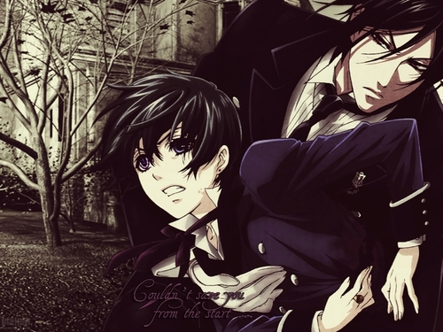 Ciel Phantomhive wallpaper possibly with anime entitled Ciel & Sebastian