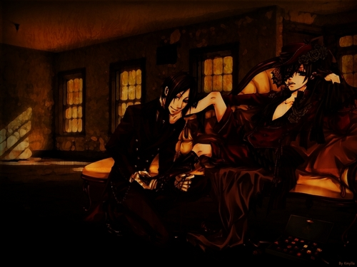 Ciel Phantomhive wolpeyper possibly with a drawing room, a parlor, and a living room titled Ciel & Sebastian