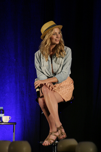 Candice Accola वॉलपेपर probably containing a संगीत कार्यक्रम and tights entitled दिन 2 of Candice's appearance at Bloody Night Con 2011 in Barcelona, Spain!