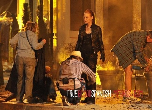 Deborah Ann Woll on the set
