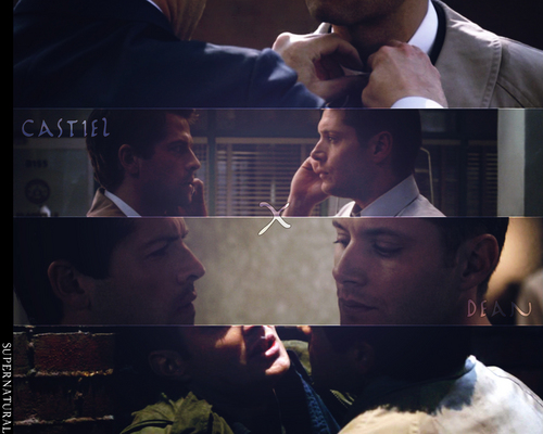 Supernatural wallpaper probably containing a sign, a newspaper, and a business suit entitled Destiel wallpaper