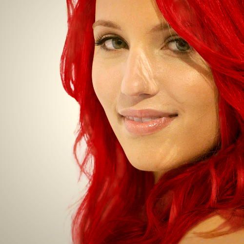 Dianna with red hair.