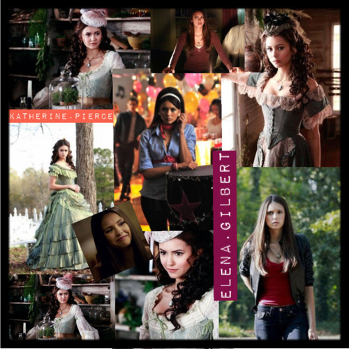 Katherine Pierce and Elena Gilbert Обои entitled Elena and Katherine