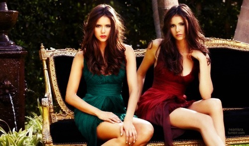 Katherine Pierce and Elena Gilbert wallpaper possibly containing a coquetel dress, a chemise, and a bustier, bustiê entitled Elena and Katherine
