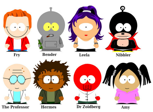 Futurama gang(South Park version characters)