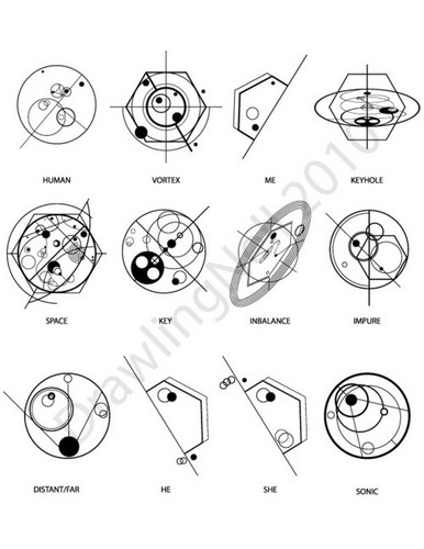 Doctor Who karatasi la kupamba ukuta titled Some Gallifreyan words (1)