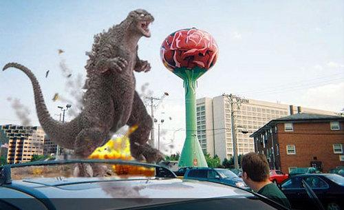 Godzilla and a giant rose