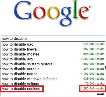 How to Disable biscuits, cookies