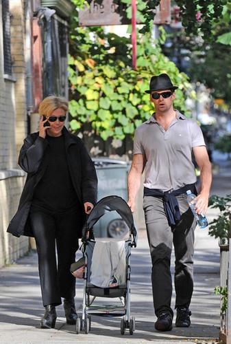Hugh Jackman & Deborra-Lee Furness Walking Their Dog