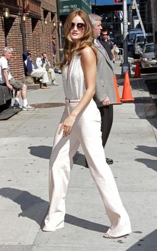 "Rosie Huntington Whiteley was busy doing some early promoting at the ""Late Show"" on Wednesday"