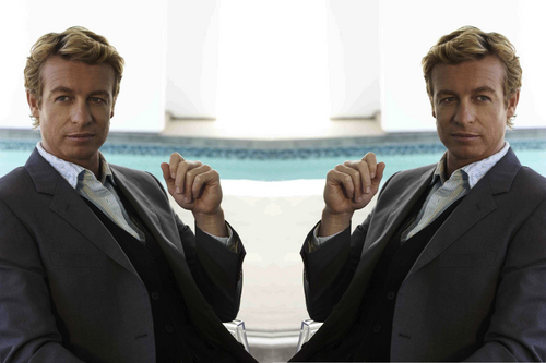 Simon Baker kertas dinding with a business suit, a suit, and a well dressed person entitled Simon Baker Mirror Portraits 09