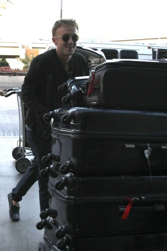 Tom Felton arriving at LAX airport, June 7