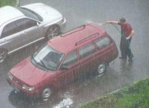 Washing car in the rain??
