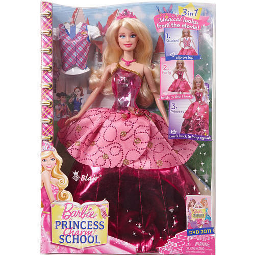 new and large barbie princess charm school