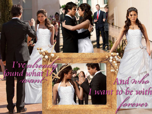 Damon & Elena वॉलपेपर titled the delena wedding <3