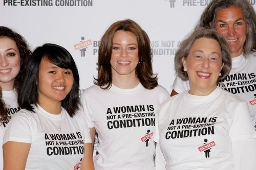 "Feminism Hintergrund with a portrait entitled ""Pre-Existing Condition"" Campaign Launch"