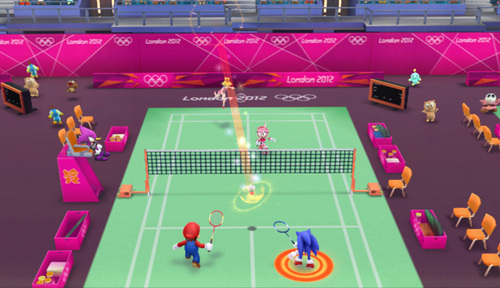 A テニス match.