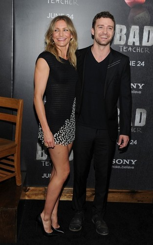 "Cameron Diaz and Justin Timberlake premiering their movie ""Bad Teacher"" in NYC (June 20)."