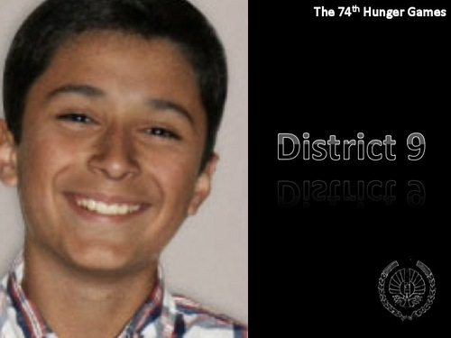 The Hunger Games Movie 바탕화면 containing a portrait titled District 9 Tribute Boy