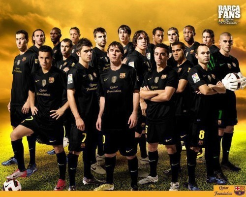 FCB Squad in the new away jersey 2011/12