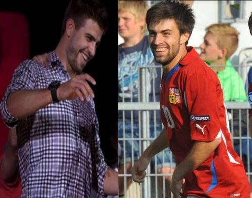 Soccer wallpaper called Gerard Piqué and czech footballer Jan Moravek are look alike