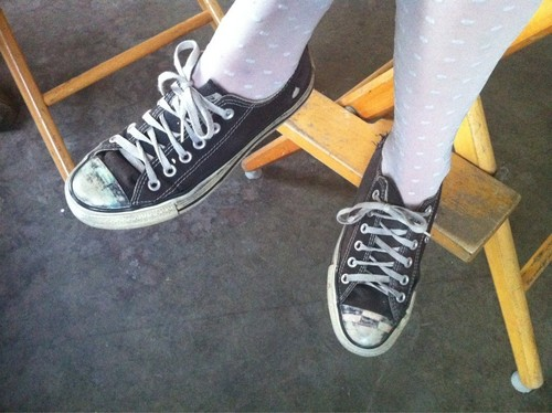 Hayley's feet on the set of 'Monster'