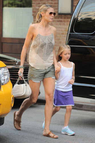 Heidi Klum & Daughter Leaving New York Hotel