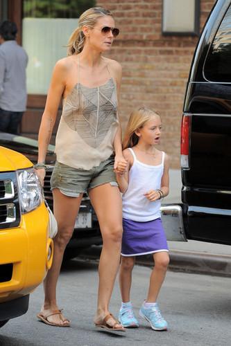 Heidi Klum & Daughter Leaving New York Hotel
