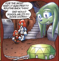 Knuckles in the afterlife watching himself grow up