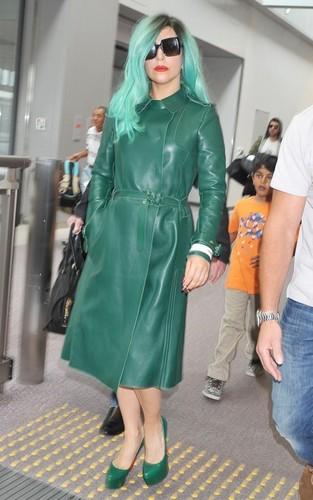 Lady Gaga arriving at Narita International Airport (June 21).