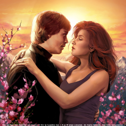 Mara Jade Skywalker wallpaper with a bouquet and a bridesmaid titled Mara and Luke