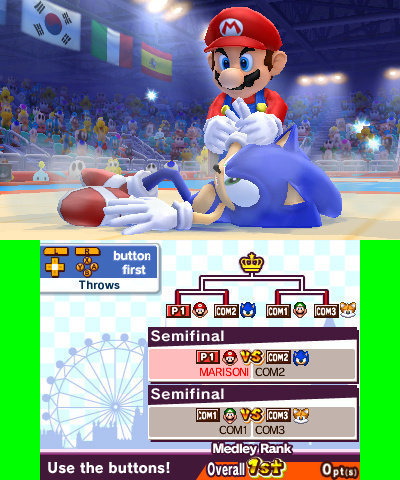 Mario and Sonic fighting Judo