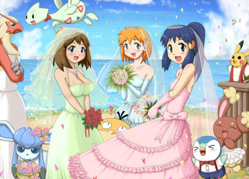 Pokémon achtergrond probably with anime titled Misty, May, and Dawn