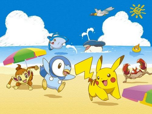 Pokemon at the beach, pwani
