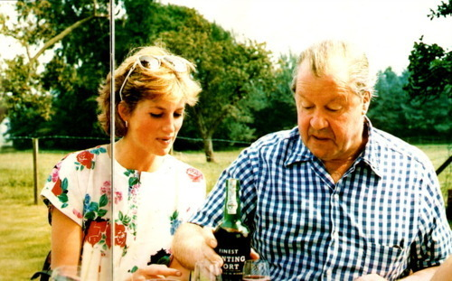 Princess Diana having lunch with her father.