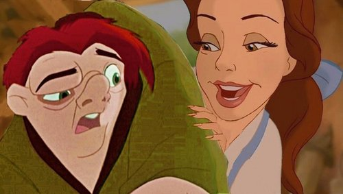 disney crossover wallpaper possibly containing anime titled Quasimodo/Belle