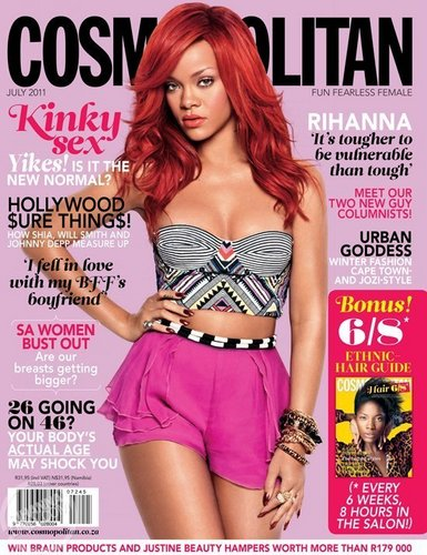 Rihanna wallpaper probably with attractiveness, a bustier, and a swimsuit called Rihanna - Cosmopolitan South Africa - July, 2011