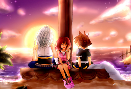 Kingdom Hearts fond d'écran called Sora/Kairi/Riku