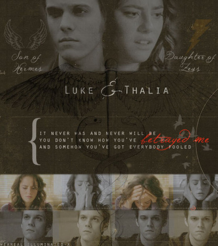 Thalia Grace and Luke Castellan wallpaper possibly with a sign titled luke&thalia