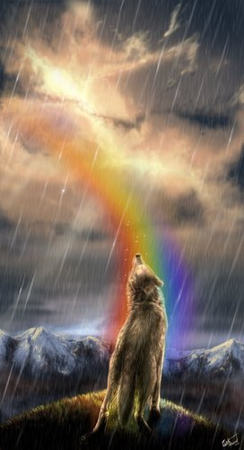 rainbow wolf wallpaper - photo #32