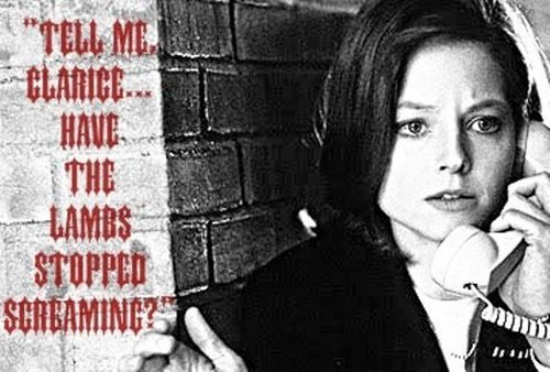 "Dr. Hannibal Lecter and Clarice Starling wallpaper probably with a newspaper, a sign, and a street titled "" Do you hear the screaming of the Lambs?"""