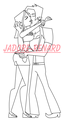 Aleheather kiss lineart - total-drama-island fan art