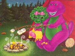The 90s wallpaper probably containing a bouquet, a hippeastrum, and an opium poppy titled Barney the purple dinosaur