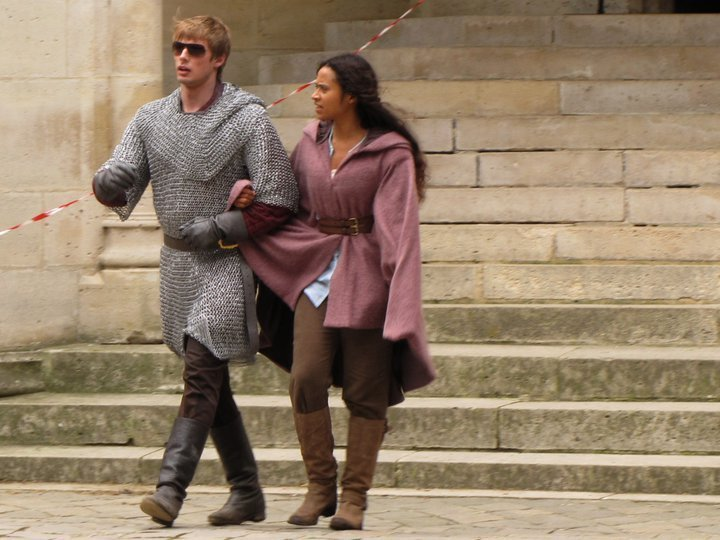 Angel Coulby And Bradley James Holding Hands