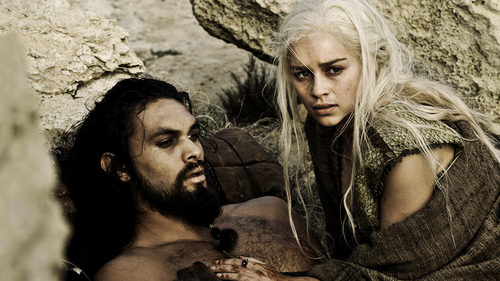 Khal Drogo wallpaper possibly containing a sign and a portrait entitled Drogo & Dany