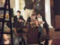 Emma, Ezra Miller and Logan Lerman at Perks set