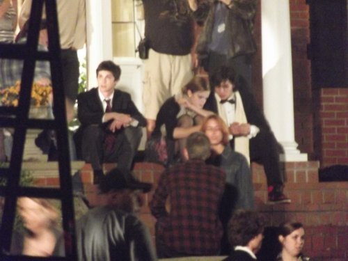 Emma, Ezra Miller and Logan Lerman at Perks set