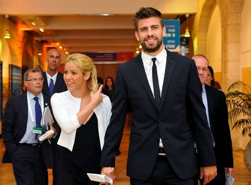 Gerard Piqué wallpaper containing a business suit and a suit titled G. Pique in Israel with Shakira