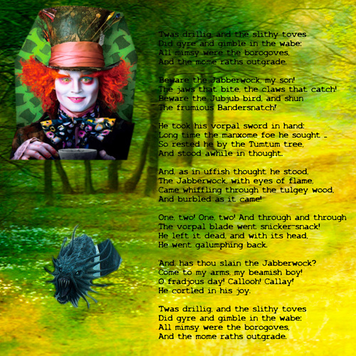 Alice in Wonderland (2010) wallpaper possibly containing a sign entitled Jabberwock Poem