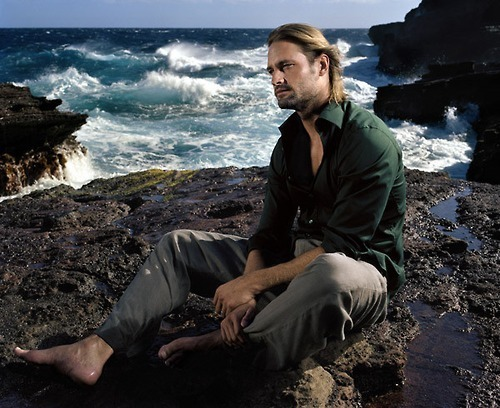 Lost wallpaper probably containing a monterey cypress, a sunset, and an oceanfront called Josh Holloway